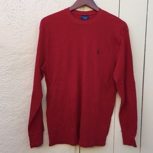 Polo by Ralph Lauren Thermal Sleepwear Top Red Med